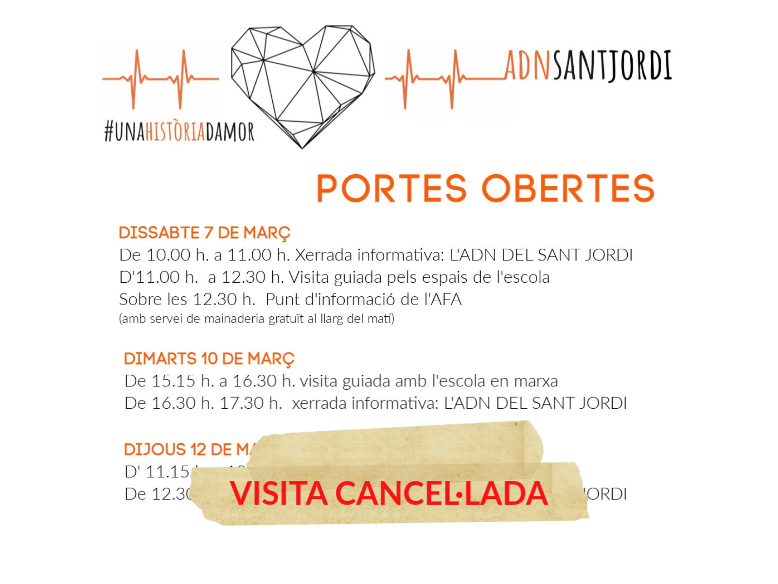SESSIÓ PORTES OBERTES DIJOUS 12 DE MARÇ CANCEL·LADA